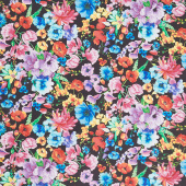 Day Dreaming - Rainbow Dream Florals Black Digitally Printed Yardage
