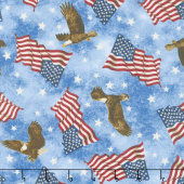 Stonehenge Stars and Stripes VI - Eagle and Flag Toss Blue Yardage