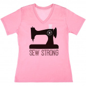Missouri Star Sew Strong V-Neck Pink T-Shirt - Large