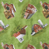 Country Paradise - Tossed Barns Green Yardage