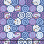 Disney Olaf's Frozen Adventure - Olaf & Snowflakes in Navy Yardage