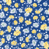 Sunshine Garden - Flowers Navy Yardage