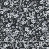 Garden Delights - Impatiens Gray/Black Yardage