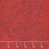 Poinsettia & Pine - Elegant Scrolls Red Yardage