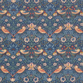 Best of Morris Fall - Strawberry Thief 1883 Indigo Yardage