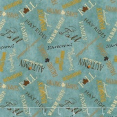 Colors of Fall - Tossed Words Teal Yardage