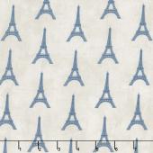 Paris, Always a Good Idea - Tour Eiffel Mini Taupe Blue Yardage