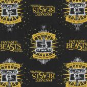 Wizarding World - Fantastic Beasts Suitcase & Logo in Black Yardage