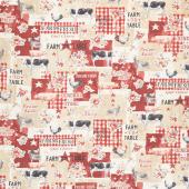 Farmhouse Chic - Collage Tan Yardage
