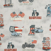 Old Guys Rule - Badges Charcoal Yardage