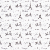 Ooh La La! - Paris Toile White Black Yardage