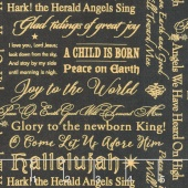 Angel Song - Words Allover Black Yardage