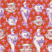 Kaffe Fassett Collective Fall 2017 - Sunrise Delft Pots Red Yardage
