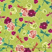 Zola - Flowers & Dragonflies Medium Avocado Yardage