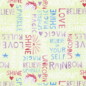 Sparkle Magic Shine - Words Allover Lime Yardage