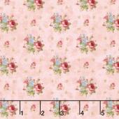 Vintage Rose - Medium Floral Bouquet Pink Yardage