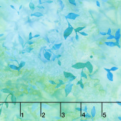 Artisan Batiks - Butterfly Blooms Leaves Aqua Yardage