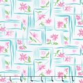 Flower Sacks - Flower Boxes Pink Yardage