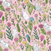 Catnip - Flower Cats Pink Yardage