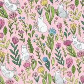 Catnip - Flower Cats Pink Yardage
