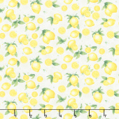 Splash of Lemon - Small Etched Lemons Cream Yardage
