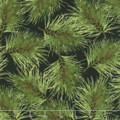 Poinsettia & Pine - Fresh Pine Black Yardage
