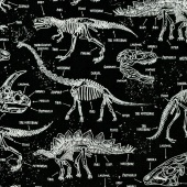 Animals - Dinosaur Skeletons Black Glow in the Dark Yardage