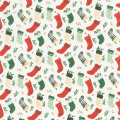 Christmas Traditions - Stockings Cream Yardage