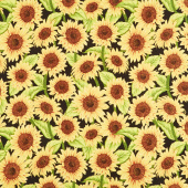 Jardin Du Soleil - Sunflower Allover Black Yardage
