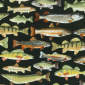 Animals - Fish Black Flannel Yardage