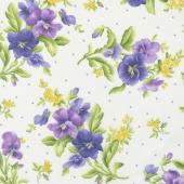 Emma's Garden - Pansy Bouquets Cream Yardage
