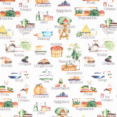 Hungry Animal Alphabet - Soup Off White Digitally Printed Yardage