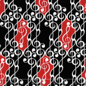 Musical Moments - G Clef Scroll Black Yardage