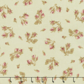 Burgundy & Blush - Tossed Rose Buds Green Yardage