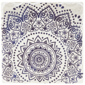 Indigo Patterns Coaster - Spiral Medallion
