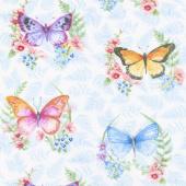 Papillon Parade - Large Butterfly White Yardage
