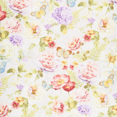 Butterfly Haven - Large Floral Gray Yardage