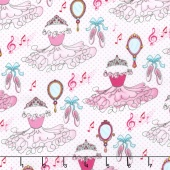 Bella-rina - Tutu and Tiara Pink/White Yardage
