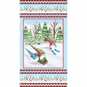 Gnoming Through the Snow - Gnomes Skiing Light Blue Panel
