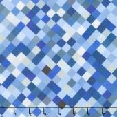 """Hopscotch - Squares Blue Digitally Printed 108"""" Wide Backing"""