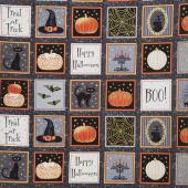 Midnight Spell - Halloween Blocks Black Metallic Yardage