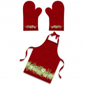 Deck the Halls - Apron and Oven Mitt Red Multi Digitally Printed Panel