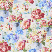 Flower Market - Flowers in Jars Gray Yardage