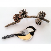 Chickadee Wool Felt Ornament Kit
