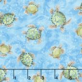Ocean State - Small Sea Turtles Blue Yardage