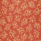 Autumn Beauties - Wheat Terracotta Metallic Yardage