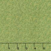 Gilded Blooms - Scrolls Green Metallic Yardage