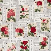 Rose Garden - Rose Newspaper Latte Yardage