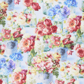 Flower Market - Flowers in Jars Blue Yardage