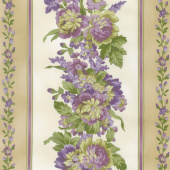 Aubergine - Elegant Stripe Ivory Yardage